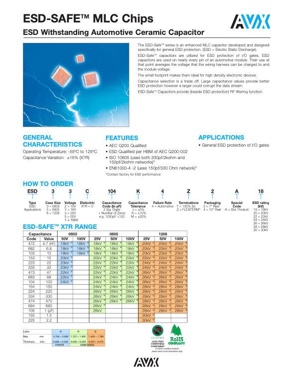 AVX ESD Safe Automotive Grade MLC Capacitors