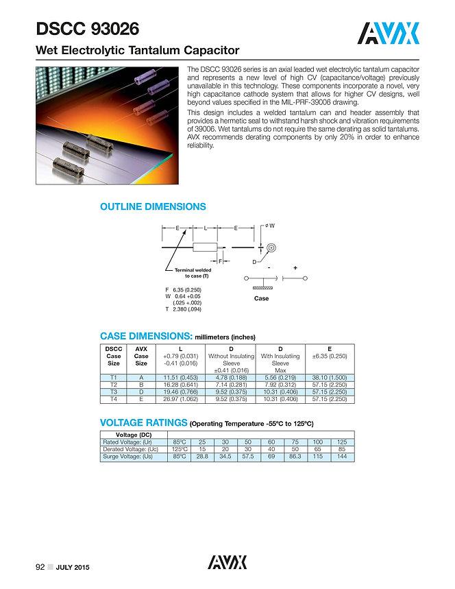 AVX DSCC 93026 Series Tantalum Capacitors