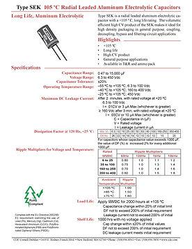 CDE Type SEK General Purpose Aluminum Electrolytic Capacitors