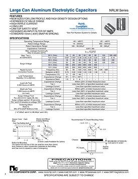 NIC Components NRLM Series Aluminum Capacitors