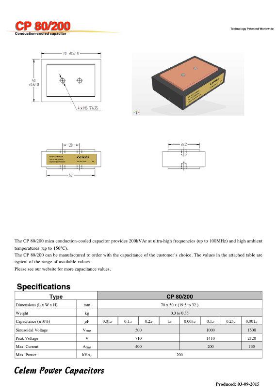Celem CP 80/200 Series Mica Capacitors