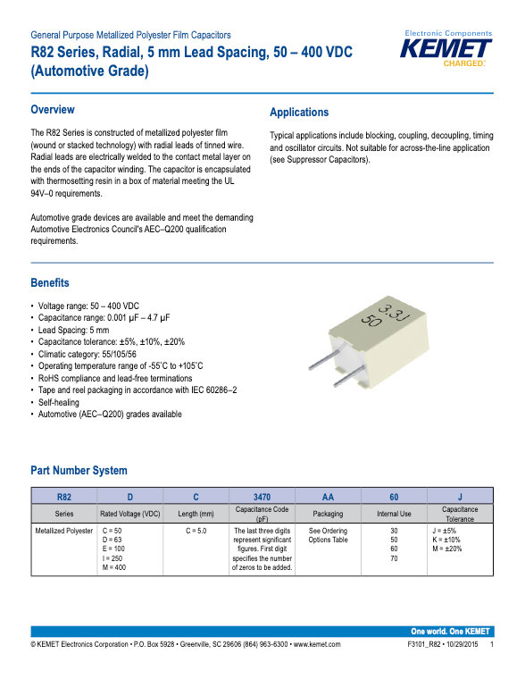 KEMET R82 Series Plastic Film Capacitors