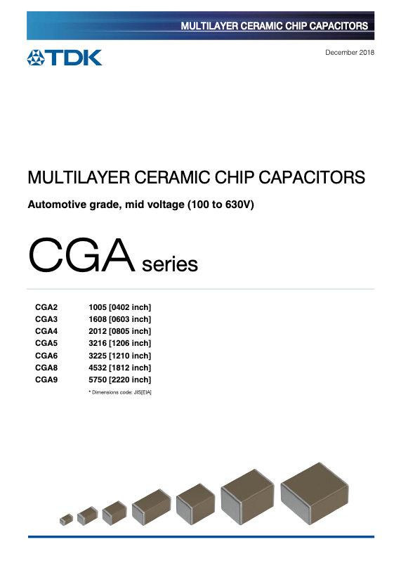 TDK CGA Series Mid Voltage MLC Chip Capacitors