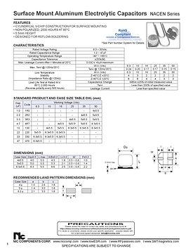 NIC Components NACEN Series Aluminum Capacitors