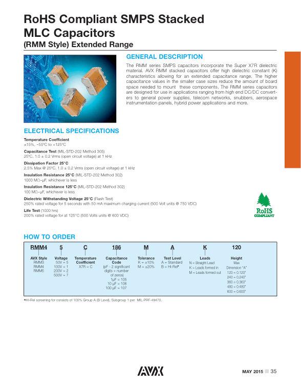 AVX RT10 Series MLC Capacitors
