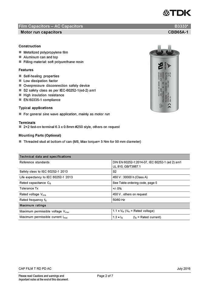 Epcos B3331V Series Plastic Film Capacitors