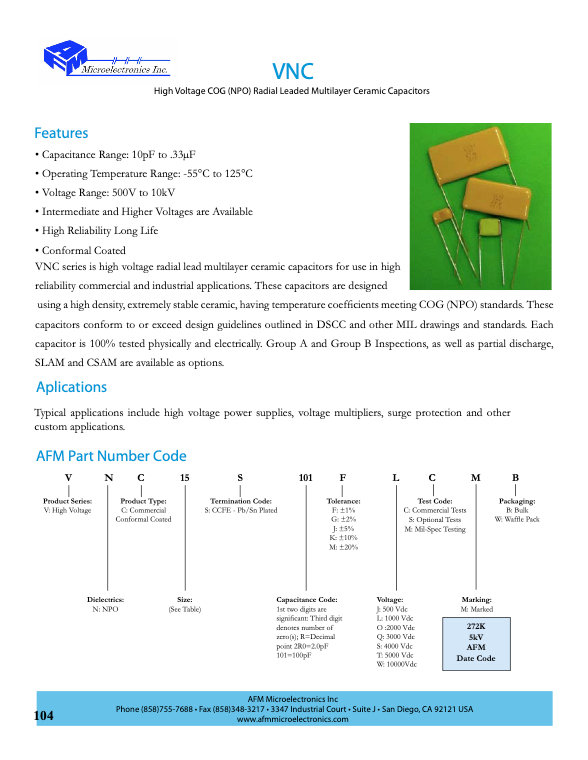 AFM Microelectronics VNC Series MLC Capacitors