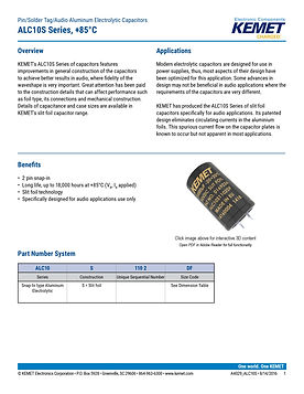 KEMET ALC10S Series Aluminum Electrolytic Capacitors