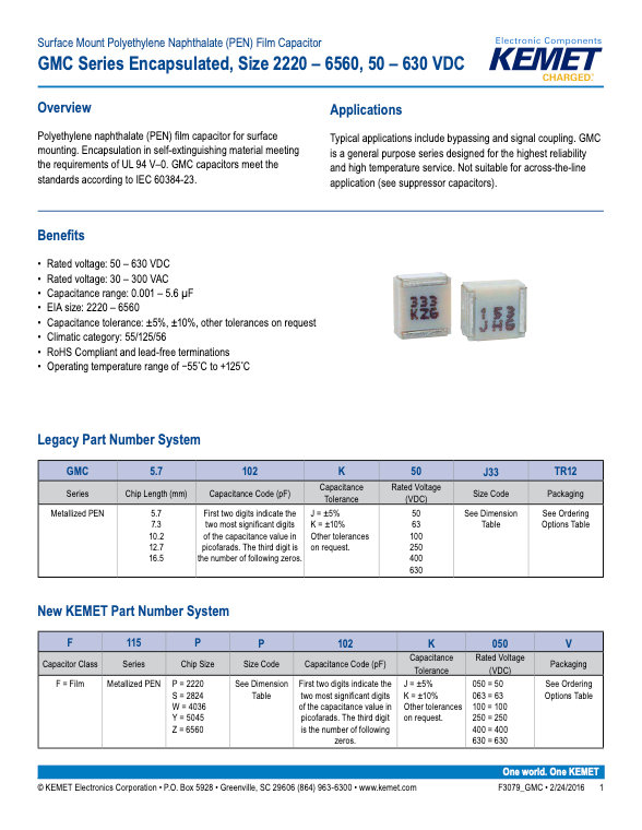 KEMET GMC Series Plastic Film Capacitors