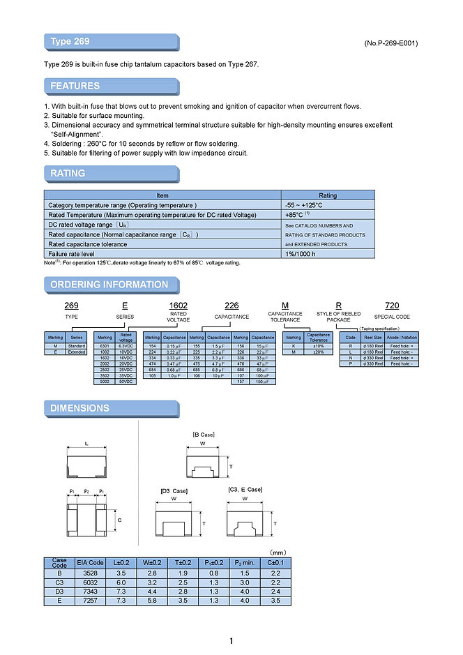 Matsuo 269M/E Series SMT Tantalum Capacitors