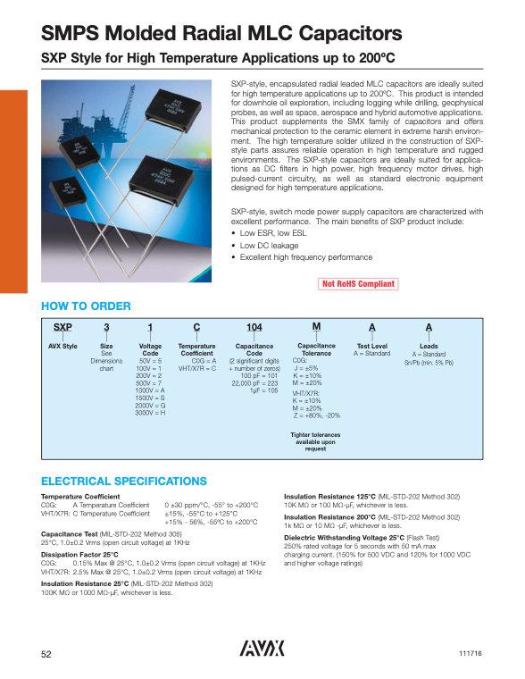 AVX SXP Style MLC Capacitors