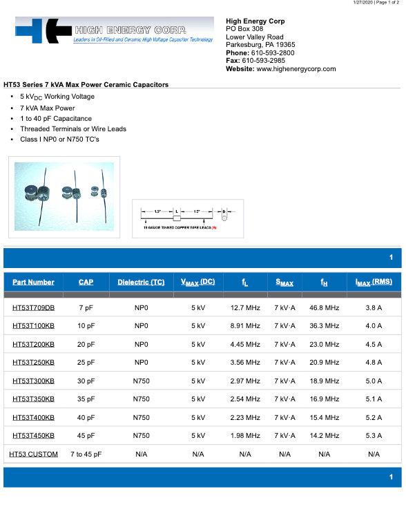 High Energy Corp. HT53 Series