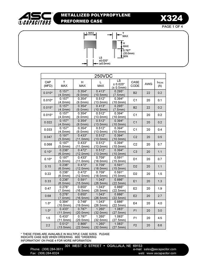 ASC X324 Series Film Capacitors