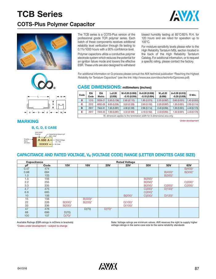 AVX TCB Series Tantalum Polymer Capacitors