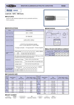 Rubycon RX50 Series Radial Aluminum Electrolytic Capacitors