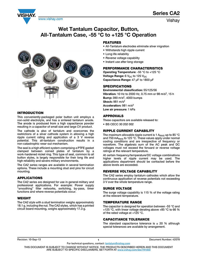 Vishay Series CA2 Wet Tantalum Capacitors