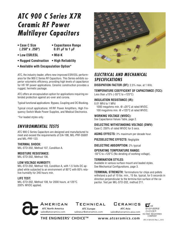 ATC 900C Series High RF Power Chip Capacitors
