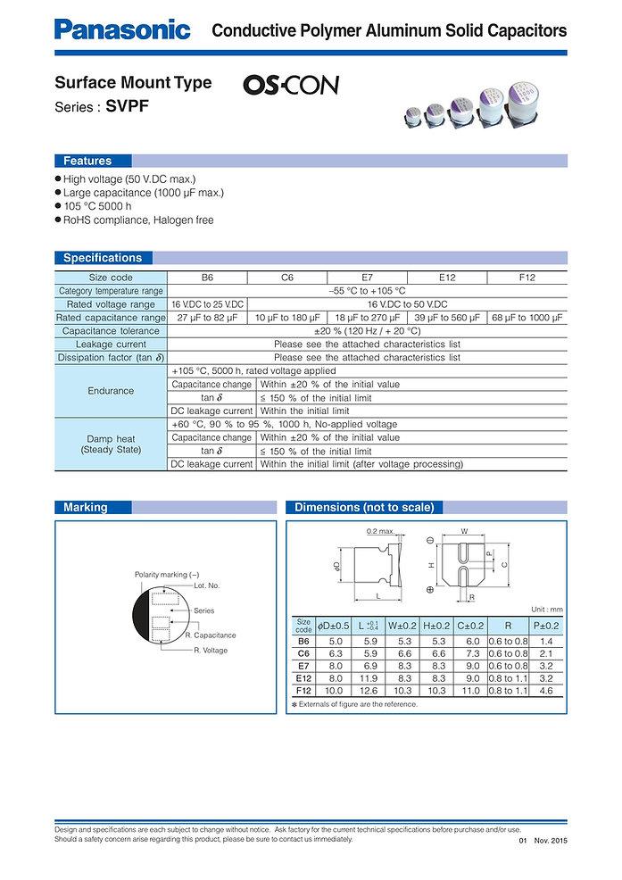 Panasonic SVPF Series Aluminum Polymer Capacitors