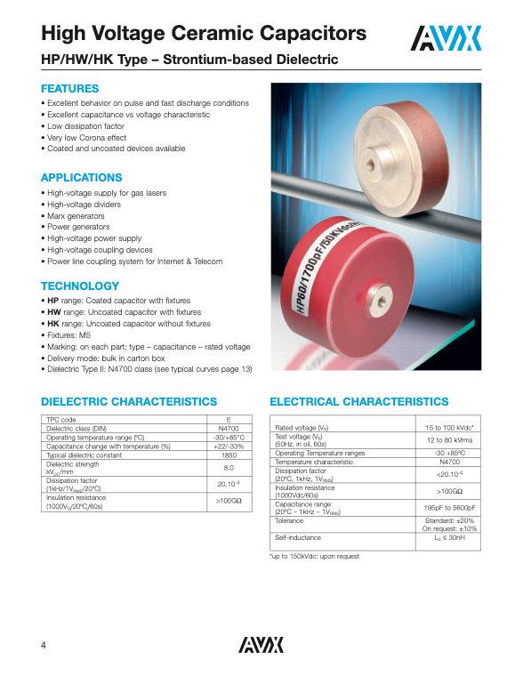 AVX HP/HW/HK Series Ceramic Plate Capacitors