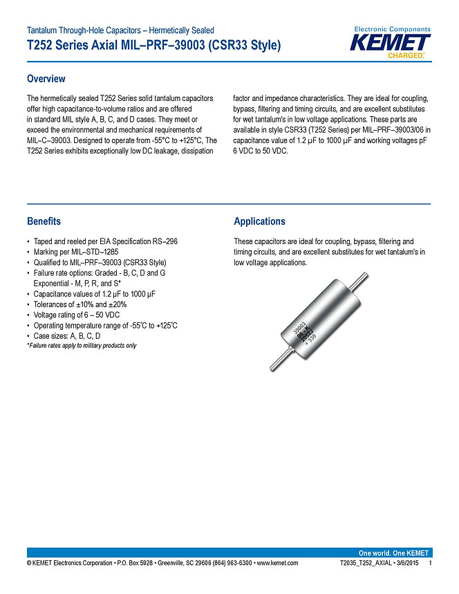 KEMET T252 Series Tantalum Capacitors