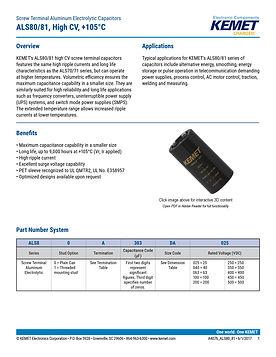 KEMET ALS80/81 Series Aluminum Capacitors