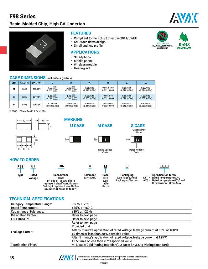 AVX F98 Series Tantalum Capacitors