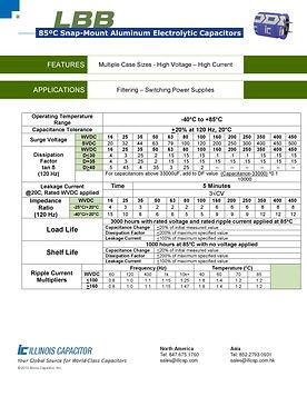Illinois Capacitor LBB Series Aluminum Electrolytic Capacitors