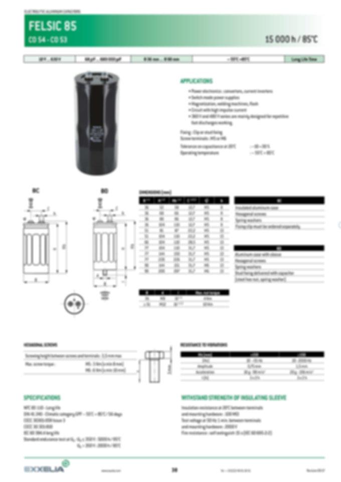 SIC SAFCO FELSIC 85 Series Aluminum Capacitors