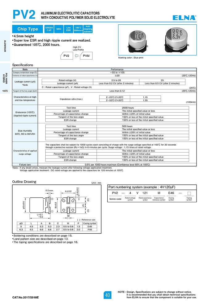 Elna PV2 Series Aluminum Polymer Capacitors
