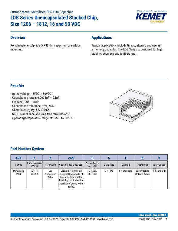 KEMET LDB Series Plastic Film Capacitors