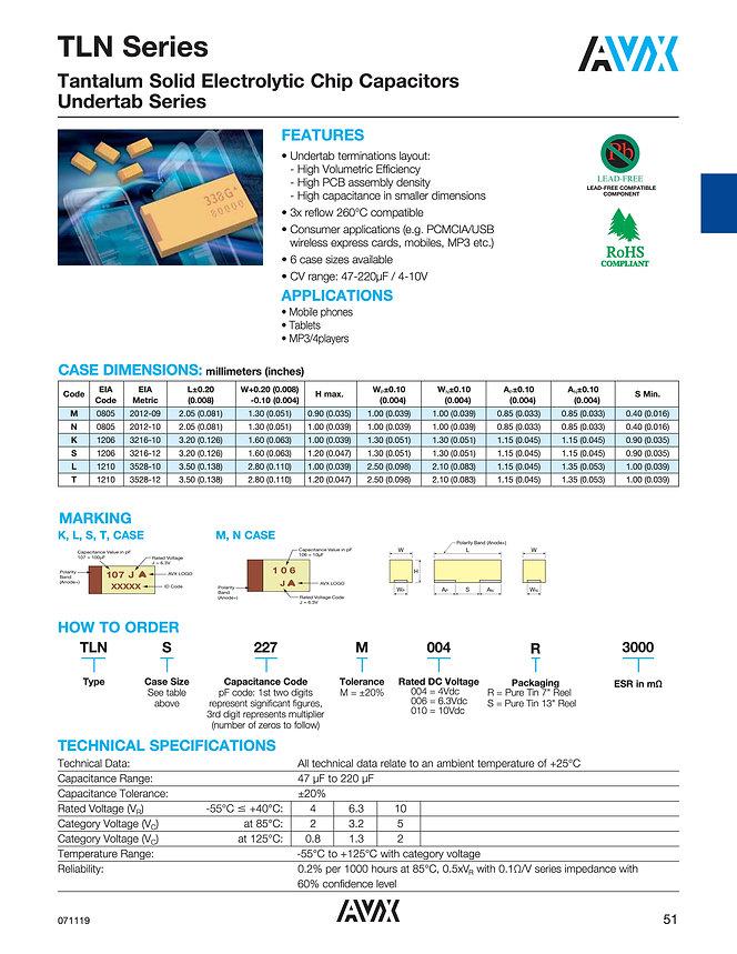 AVX TLN Series Tantalum Capacitors
