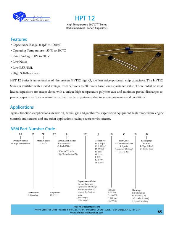 AFM Microelectronics HPT12 Series MLC Capacitors