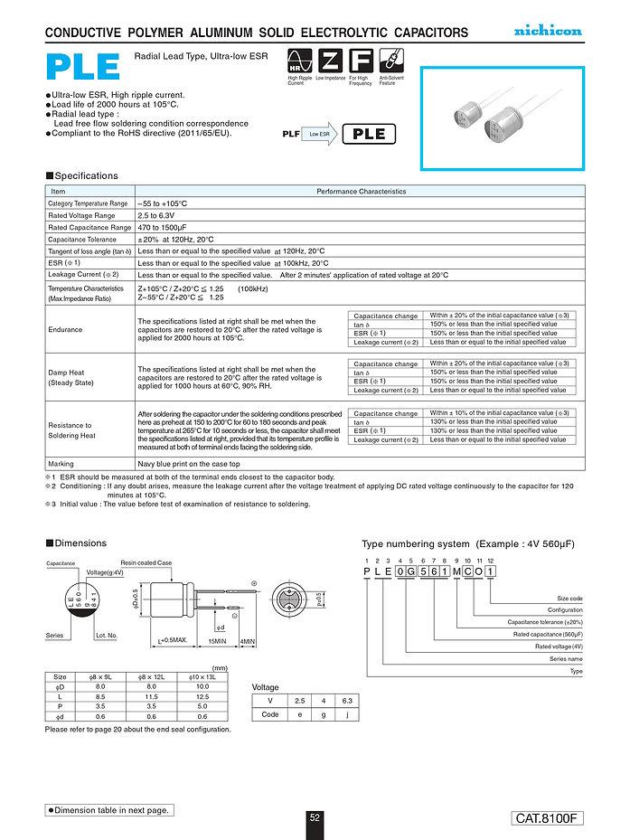 Nichicon PLE Series Aluminum Polymer Capacitors
