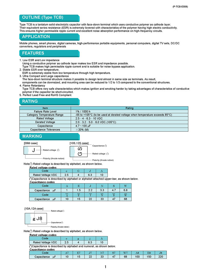 Matsuo TCB Series SMT Tantalum Capacitors