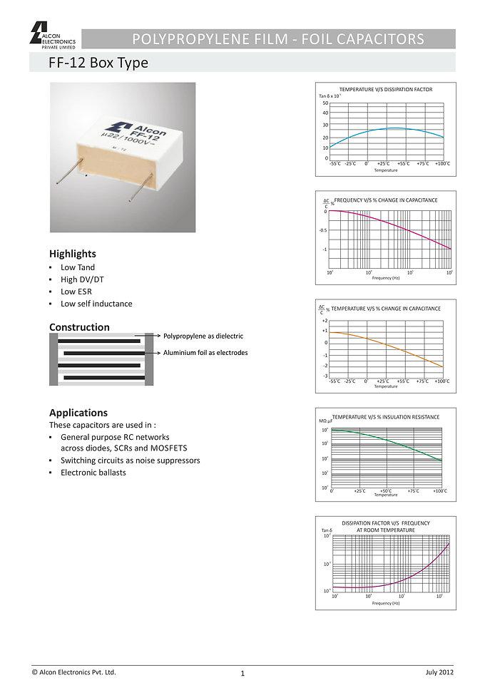 Alcon Electronics FF-12 Series Film Capacitors
