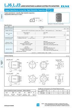 Elna LJ6/LJ2 Series Aluminum Electrolytic Capacitors