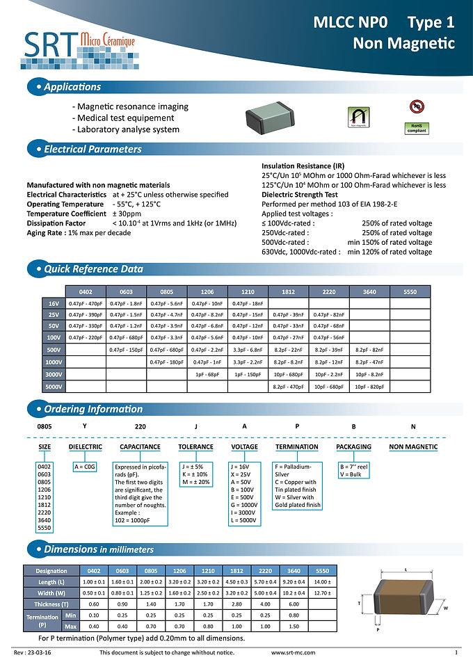 SRT Microceramique NPO Non Magnetic MLC Capacitors