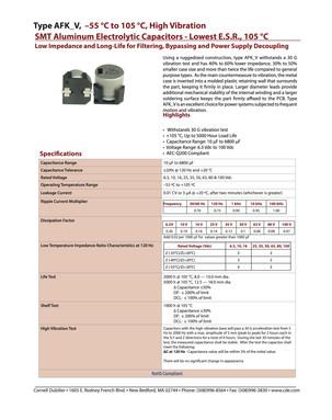 Cornell Dubilier AFK_V Series Capacitor Data Sheet