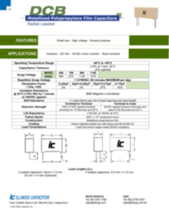 Illinois Capacitor DCB Series Plastic Film Capacitors