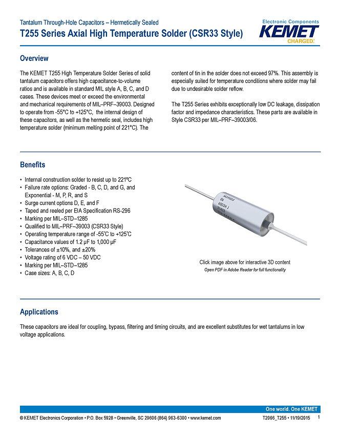 KEMET T255 Series Tantalum Capacitors