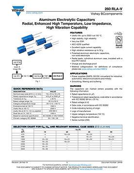 Vishay 260 RLA-V Series Aluminum Electrolytic Capacitors