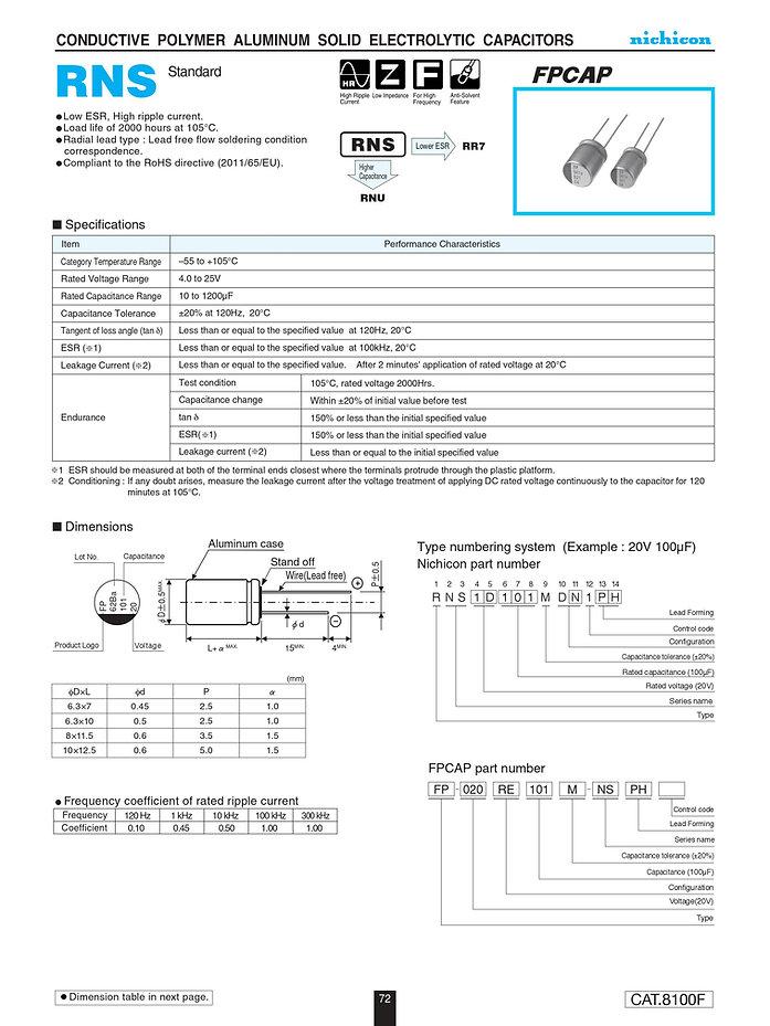 Nichicon RNS Series Aluminum Polymer Capacitors