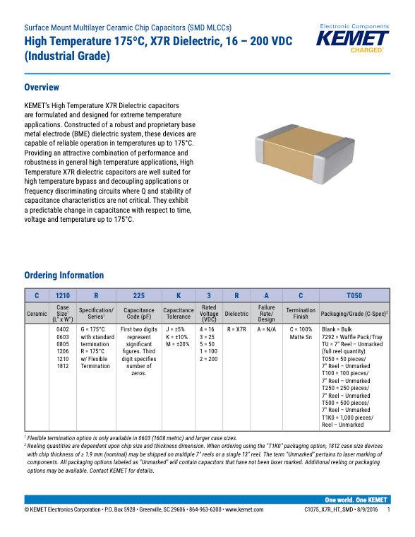 KEMET 175°C X7R Surface Mount MLC Capacitors