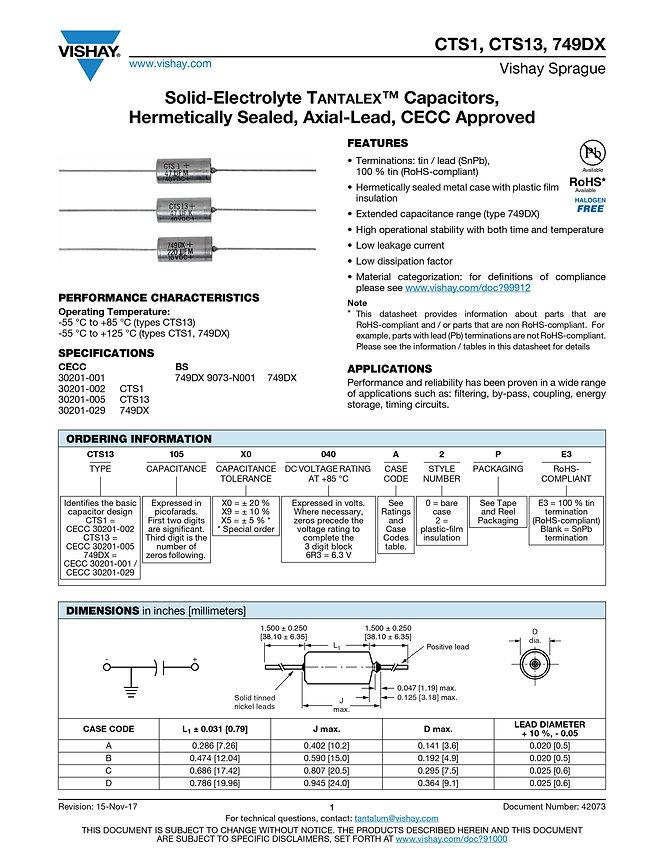 Vishay CTS1, CTS13, 749DX Series Tantalum Capacitors