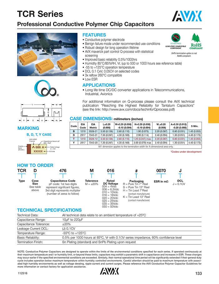 AVX TCR Series Tantalum Polymer Capacitors