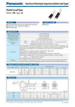 Panasonic FS Series Aluminum Capacitors