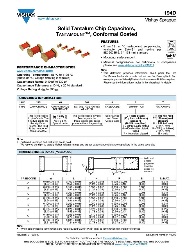 Vishay 194D Series Tantalum Capacitors