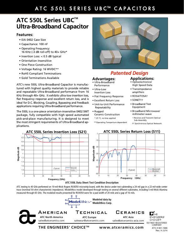 ATC 550L Ultra Broadband Chip Capacitors