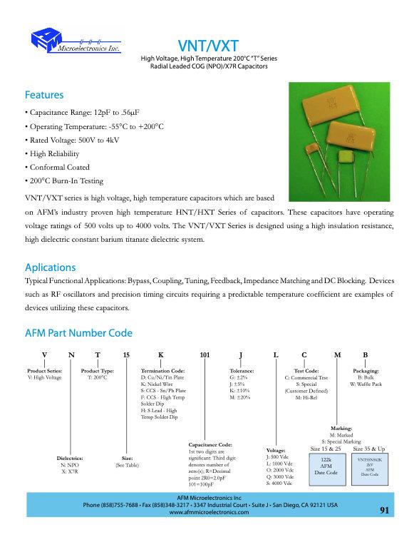 AFM Microelectronics VNT.VXT Series MLC Capacitors