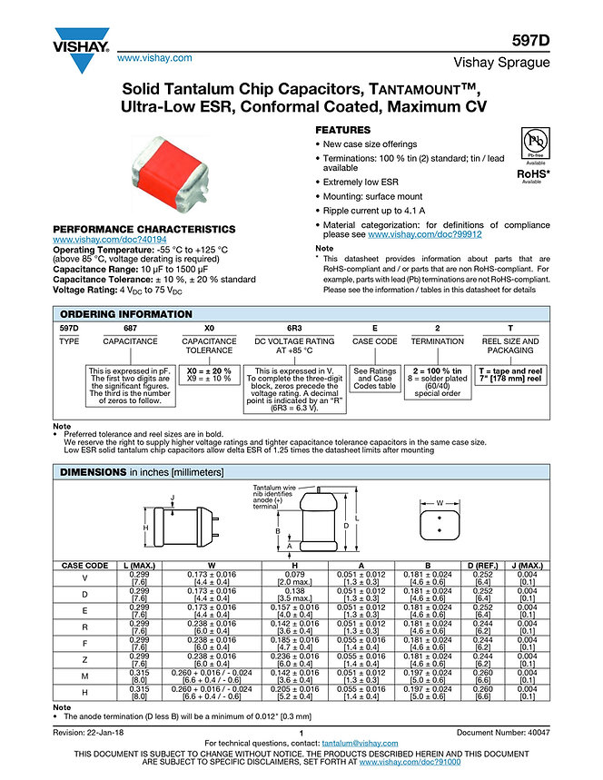 Vishay 597D Series Tantalum Capacitors